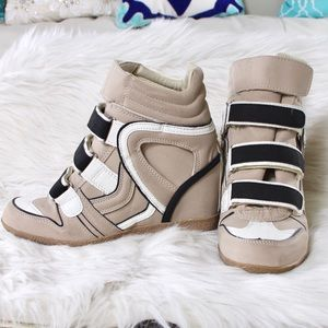 High Top Wedge Sneakers Leather Size 7